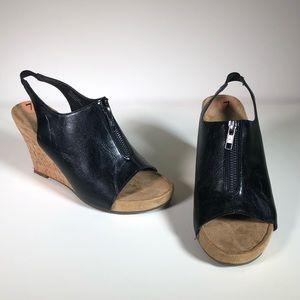 Aerosoles black leather wedge sandals